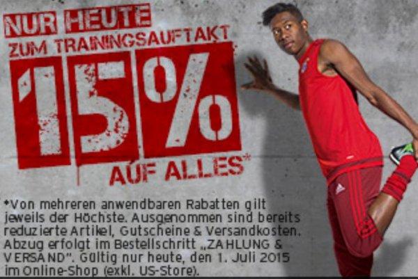 15% auf alles im FC Bayern Online Shop