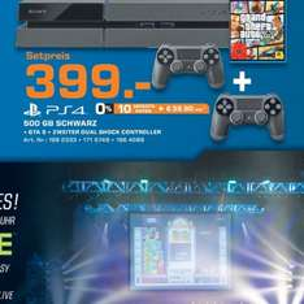 PS4 mit zwei Controller + GTA V für 399€ @Saturn.de