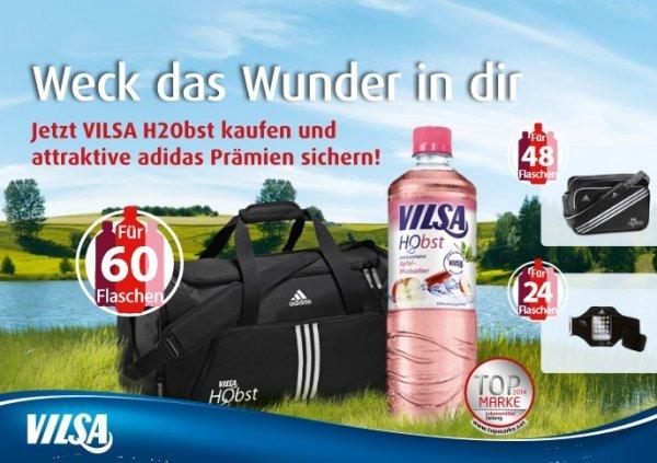 [mytime.de Neukunden] 60x 0,5l Vilsa H2Obst + Adidas 3 Stripes Essentials Sporttasche für effektiv 33,39€