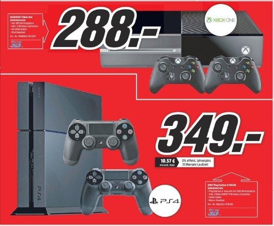[Lokal Mediamarkt Backnang/Stuttgart] Sony Playstation 4 mit 2 Controllern für 349,-€***Microsoft XBox One mit 2 Controllern für 288,-€