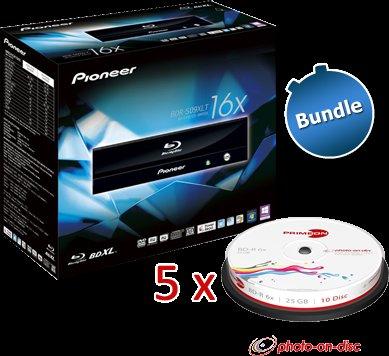 Pioneer BD Brenner inkl. Software + 50x 25 GB BDR Medien@ ZackZack - 99,90€ VSK frei
