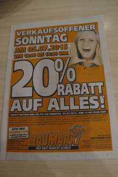 Lokal in Dietzenbach / 20 % Globus Baumarkt am Sonntag 05.07.15