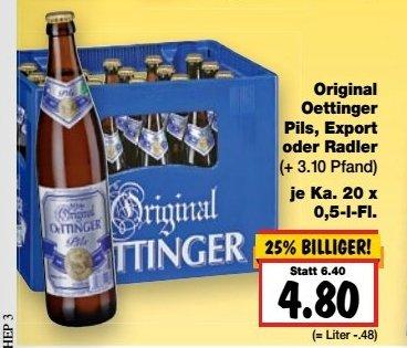 [Kaufland Bundesweit ab 06.07] Kasten Oettinger 20 x 0,5l...Pils/Export/Radler für 4.80 €zzgl.Pfand