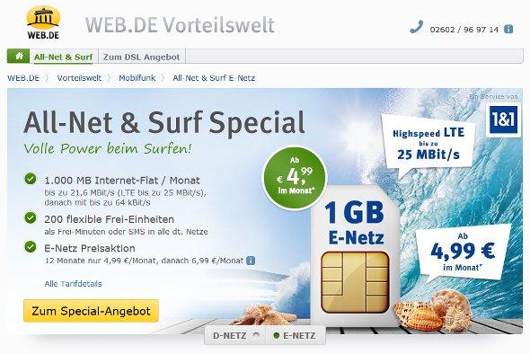 "GMX und Web.de: ""All-Net & Surf Special"" ab effektiv 6,40 Euro im Monat"