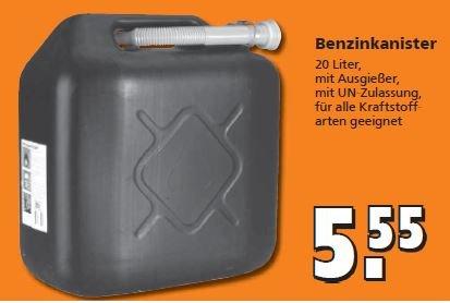 [Globus Baumarkt]    20 Liter Benzinkanister      5,55 Euro