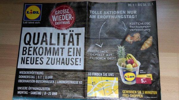 Kostenlose Backwaren und mehrere Knüller zur Wiedereröffnung des Lidl Oberhausen