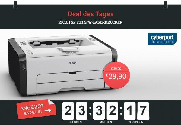 Ricoh SP 211 S/W-Laserdrucker für nur 29,90 Euro @ Cyberport.de mit GUtschein 24,90