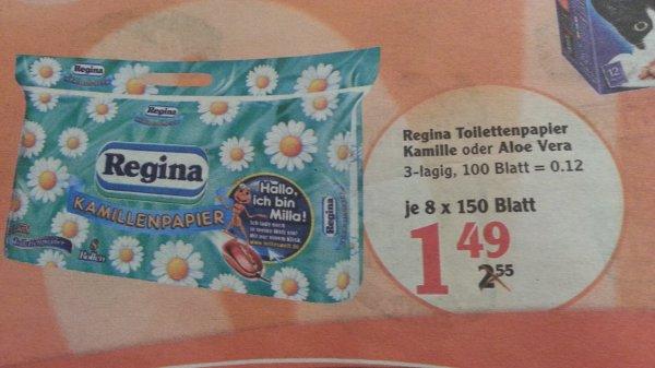 [Globus] Regina Toilettenpapier 8x150 Blatt ( Angebot+Coupon) statt 1,49€ für 0,99€