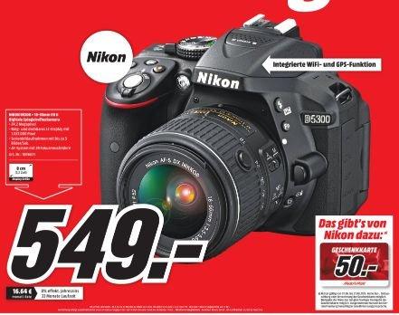 [Lokal Mediamarkt Paderborn] Nikon D5300 Kit 18-55 mm Nikon VR II schwarz für 549,-€ + 50,-€ MM Geschenktgutschein.Effektivpreis 499,-€