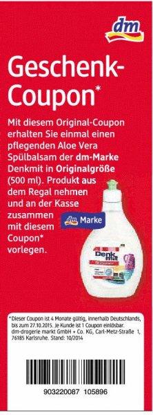 [DM] Aloe Vera Spülbalsam Denkmit 500ml gratis (Scan, deutschlandweit)