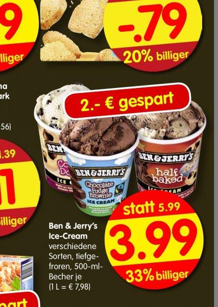 Treff 3000 Bundesweit Ben & Jerry's je 500ml Pack zu je  3,99,-
