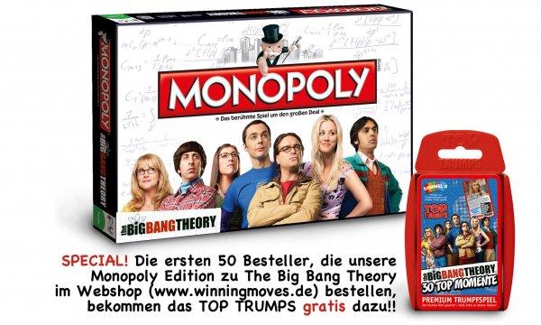 Monopoly The Big Bang Theory kaufen und das Top Trumps dazu gratis bekommen