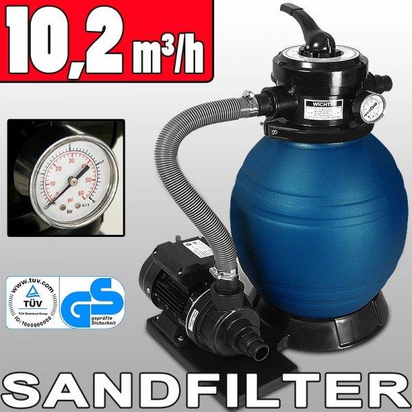 Sandfilteranlage 10200 l/h & 20kg Tankvolumen Leistung: 400 Watt [Deuba / Rakuten]