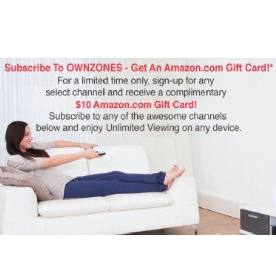OWNZONES Streaming-Channel für $1,99 sichern und $10 Amazon.com Gutscheinkarte erhalten