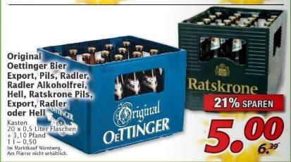 Marktkauf Nürnberg: Oettinger/Ratskrone Bier, Eport, Pils, Radler 20x0,5l 5€ + Pfand