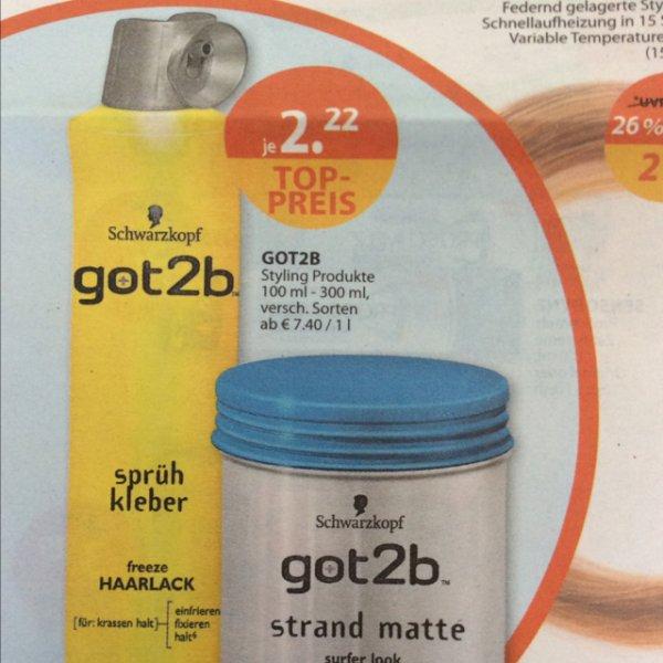 got2b Sprühkleber (Haarspray) und got2b Strandmatte (Haarwachs) bei Müller
