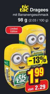 tic tac BANANA MINIONS - Dragees (Limited Edition) - 98g Packung (200 tic tac minions) für 1,99€ [offline @Netto ohne Hund]