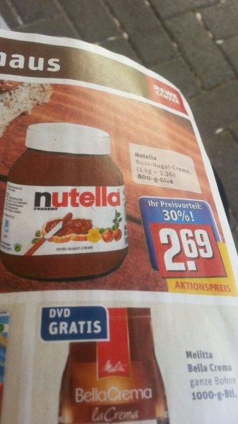 rewe CENTER  nutella 800 gr für 2,69 €
