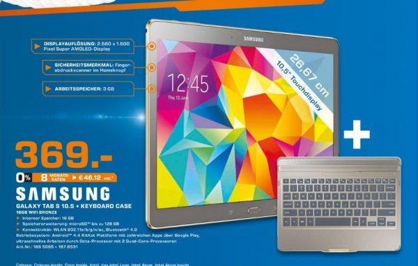 [Lokal Saturn Darmstadt und Weiterstadt] Samsung Galaxy Tab S 10.5 T800N 16GB, bronze SM-T800NTSA + Samsung Keyboard Case mit Tastatur Galaxy Tab S 10.5 Bronze für 369,-€ +100€ Cashback