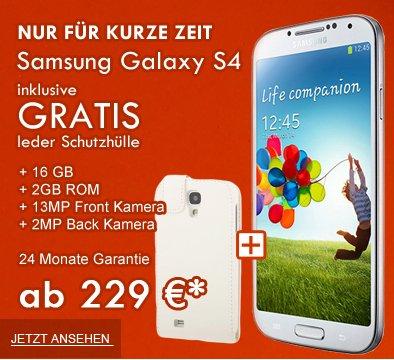[HWS] Samsung Galaxy S4 16GB LTE Weiß oder Schwarz LTE inkl. Schutzhuelle