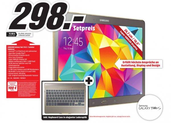 [Lokal Mediamarkt Plauen] Samsung Galaxy Tab S 10.5 T800N 16GB, bronze SM-T800NTSA + Samsung Keyboard Case mit Tastatur Galaxy Tab S 10.5 Bronze für 298,-€ +100€ Cashback.Effektivpreis 198,-€