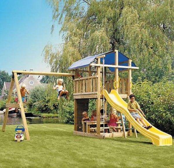 Jungle Gym Fort 2-Swing Xtra Spielturm Schaukel Klettergerüst Sandkasten, 666,87€ @ ebay