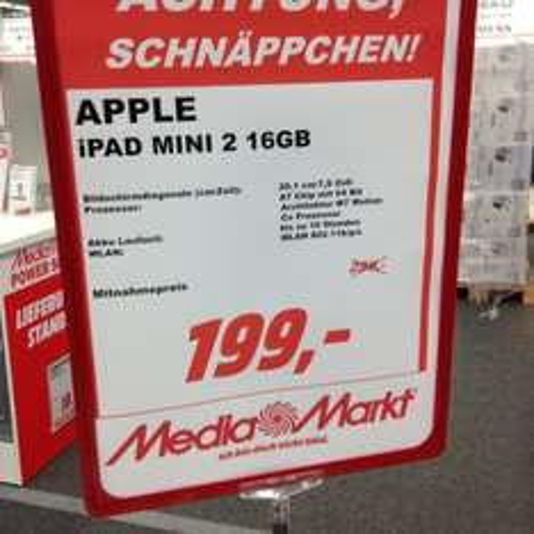 [MediaMarkt Neuss] iPad mini 2 - 16 GB - WiFi - 199€