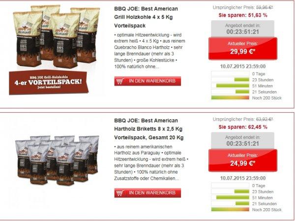 [Comtech/Comdeal] It´s Grilltime..BBQ JOE: Best American Grill Holzkohle 4 x 5 Kg Vorteilspack für 29,99€***BBQ JOE: Best American Hartholz Briketts 8 x 2,5 Kg Vorteilspack, Gesamt 20 Kg für 24,99€