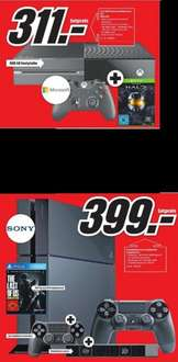[Lokal Mediamarkt Weiterstadt] Microsoft Xbox One 500GB + Halo: The Master Chief Collection für 311,-€****Playstation 4 mit 2 Controllern+ Kamera+The Last of Us für 399,-€