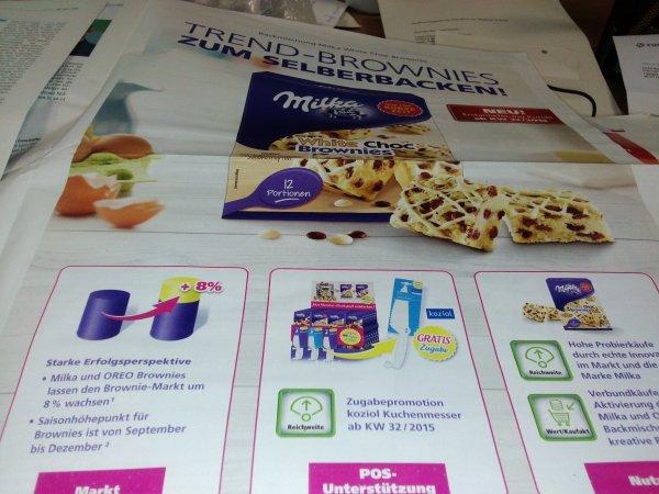 ab KW 32 Gratiszugabe koziol Kuchenmesser beim Kauf Milka Backmischung Brownies