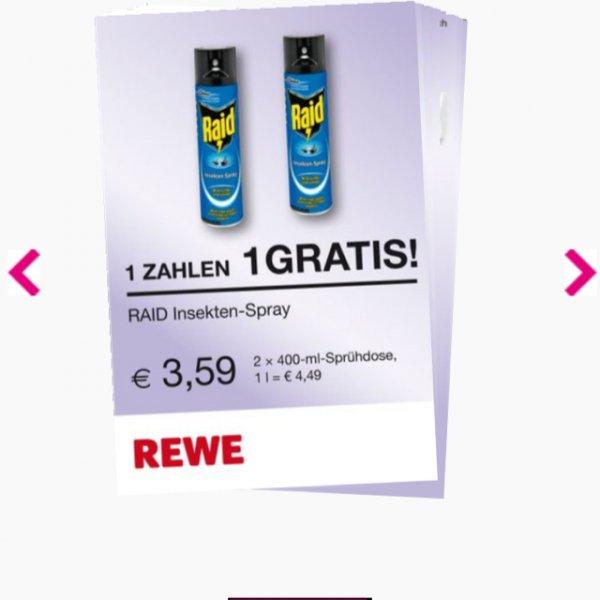 Raid Insektenspray durch Coupon und Cashback für effektiv  0,79€ statt 3,59€ bei REWE