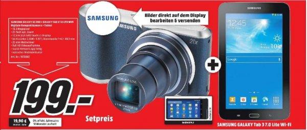 [Lokal Mediamarkt Plauen] Samsung Galaxy Camera 2 (GC 200) + Samsung Galaxy Tab 3 7.0 Lite T113N WiFi Schwarz für 199,-€
