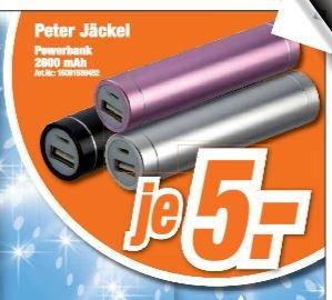 Peter Jäckel Powerbank 2600mAh - Siber/Schwarz/Rosa 5€ Expert Nord Filialen