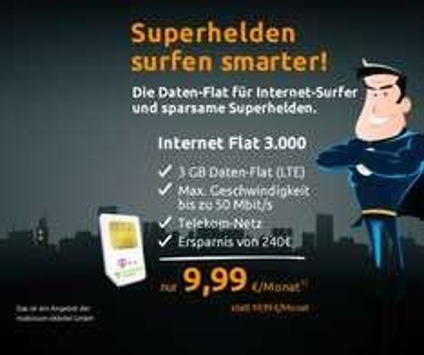 Crash-Tarif: 3 GB LTE-Flat im Telekom-Netz für 9,99€ monatl.