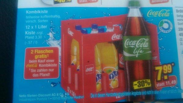 Cola Kombikiste bei Netto für nur 7,99€ und 2 Flaschen Gratis