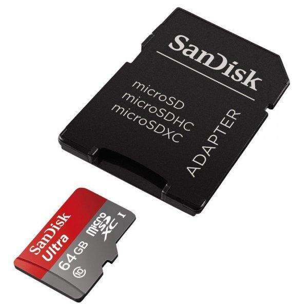 [Saturn] Sandisk microSDXC Ultra 64GB Class 10 / UHS-I + SD-Adapter für 19,99€ versandkostenfrei *** alternativ 2 Stück für 35€