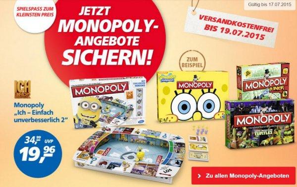 """[Real] Monopoly-Sale: z.B. Monopoly """"Millionär"""" für 15,20€ oder Monopoly """"Einfach unverbesserlich 2"""" für 19,96€ - alles versandkostenfrei + 10fache Paybackpunkte"""