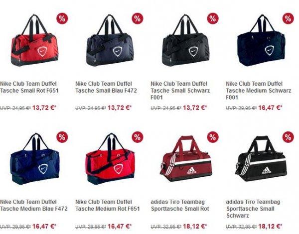 Nike und Adidas Sporttaschen mit 45% Rabatt ab 13,72€ [11teamsports]