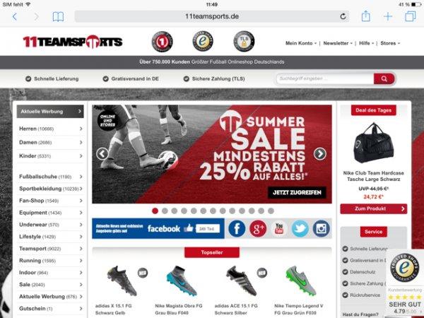 Auf alles 25% bei 11 Teamsport.de auf die neuesten Trikots (Bayern , Dortmund etc.) oder auf Lifestyle Schuhe wie AirMax oder roshi