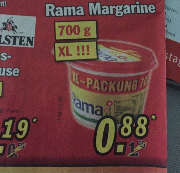XL Rama Margarine 700 g. für 88 Cent am Mittwoch bei Zimmermann
