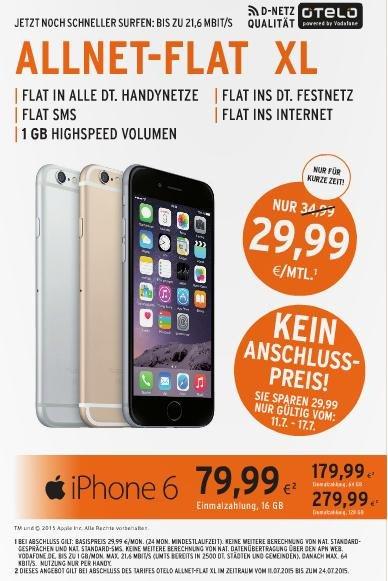 Iphone 6 mit Otelo Allnet-Flat Xl