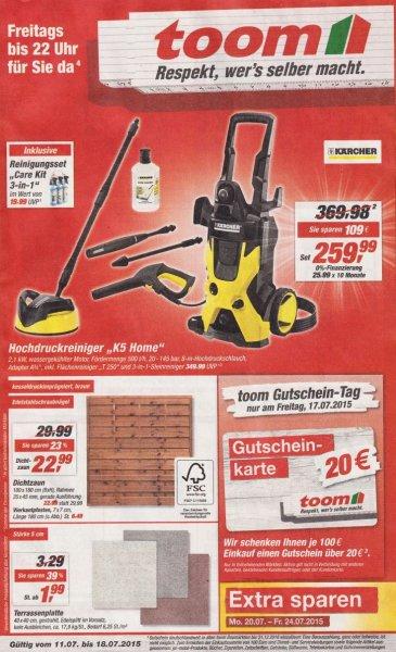 """[Lokal] KÄRCHER """"K5 Home"""" Hochdruckreiniger 259,99€ + Reinigunsset 3in1 + 40€ Gutscheinkarte"""