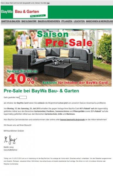 BayWa: 40% auf Gartenmöbel / 25% auf Gartengeräte, Grills etc. (mit Bauhaus TPG 47% / 34% (dann z.B. Weber Spirit E-210 Original 362,34 €))