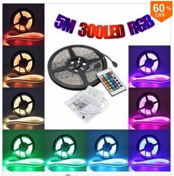 5M 5050 RGB Waterproof 300 LED Strip Light 12V DC 24 Key IR Controller 60% OFF @ Banggood