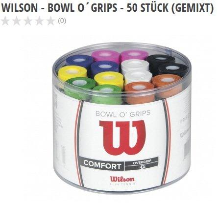Wilson - Bowl O´Grips - Griffbänder / 50 Stück (gemixt) für € 20,- statt € 54,95 zzgl. € 4,95 Versand