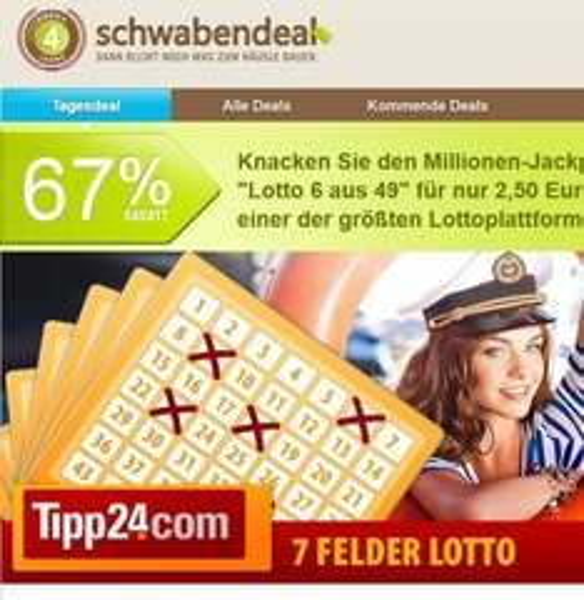 [Schwabendeal]: Nochmal aufgelegt: Tipp24 - 7 Lottofelder für 2,50 Euro statt 7,50 Euro (für Neu- und Bestandskunden) für Lotto 6 aus 49 UPDATE: Nochmal 150 Gutscheine nachgelegt!
