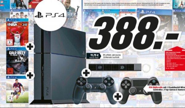 [Lokal MM Echterdingen] Playstation 4 mit 500 GB, 2 Controller + 3 Spiele für 388 Euro
