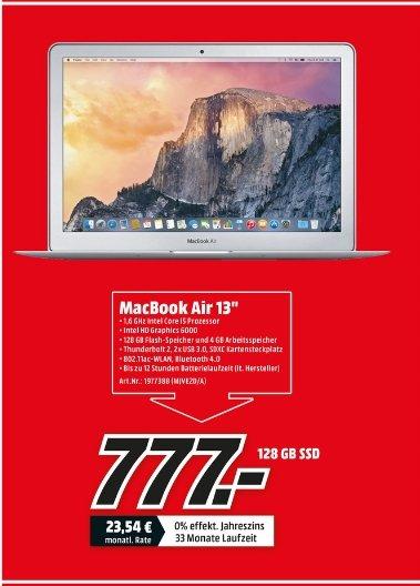 "[[Lokal Mediamarkt Leinfelden-Echterdingen] Apple MacBook Air 13,3"" 1,6 GHz Intel Core i5 4 GB 128 GB SSD (MJVE2D/A) zum Bestpreis von 777,-€"