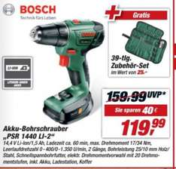 Bosch Akku Borschrauber mit Zubehör + Gutschein 20€ ab Einkaufswert von 100€ nur 100€ TOOM