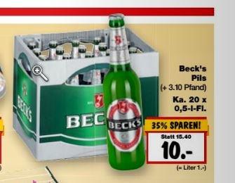 [KW30: Kaufland BW & Bayern] Kasten Becks 20x0,5l für 10€ (1€/Liter)